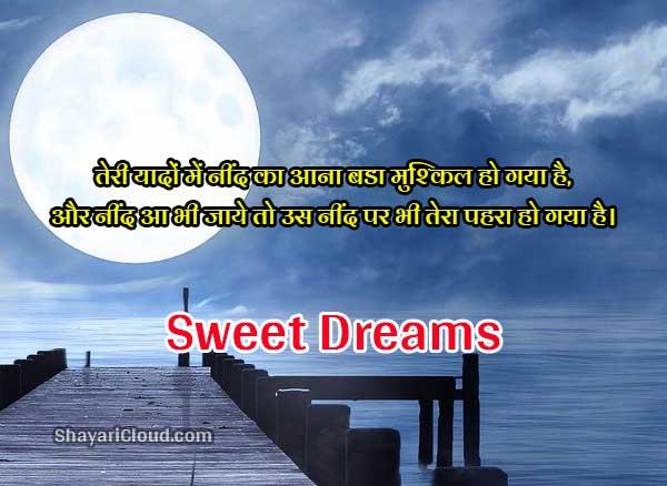 2 lines Good Night Shayari in Hindi